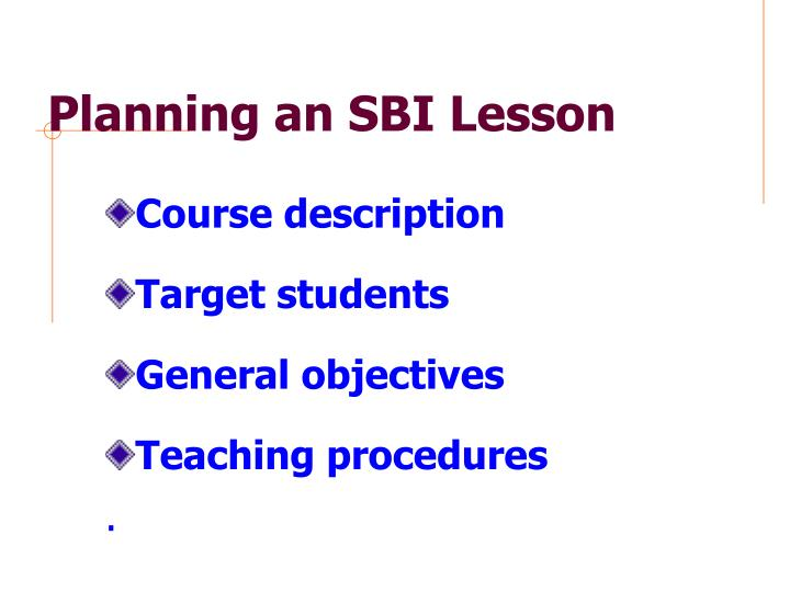 Planning an SBI Lesson
