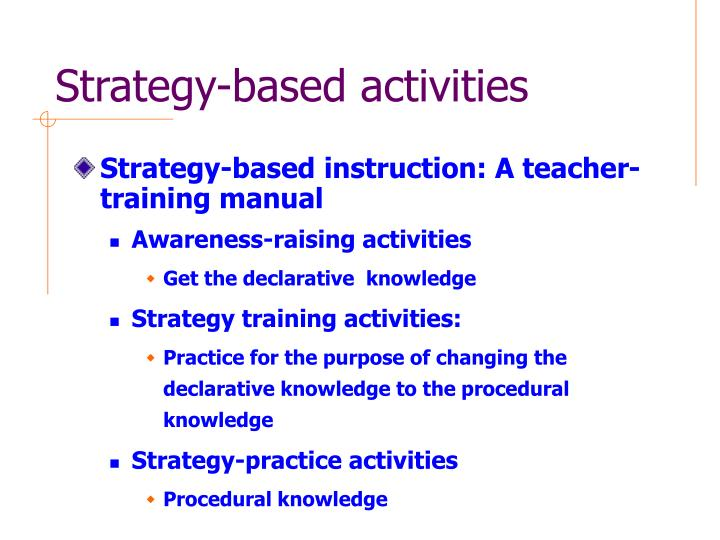 Strategy-based activities