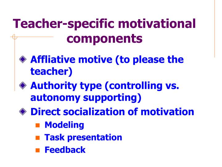 Teacher-specific motivational components