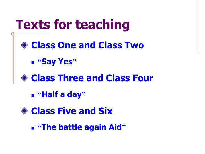 Texts for teaching