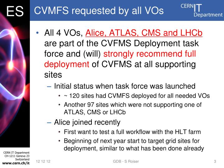 CVMFS requested by all VOs