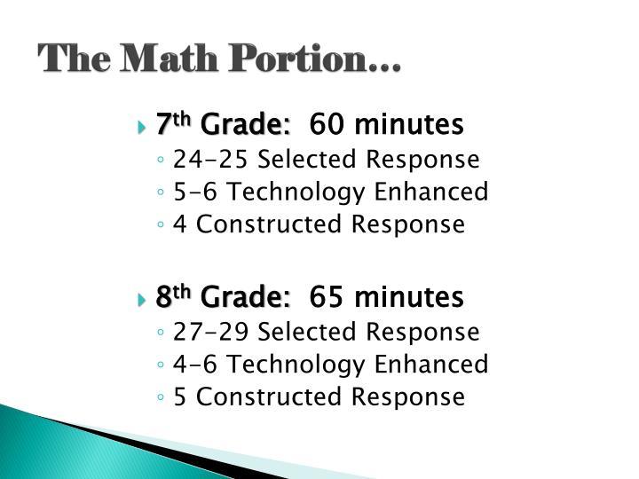 The Math Portion…