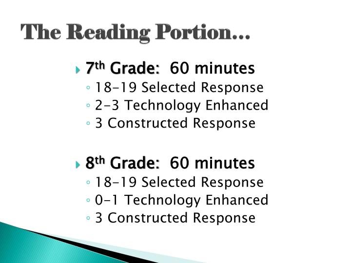 The Reading Portion…