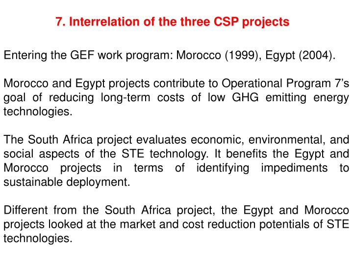 7. Interrelation of the three CSP projects