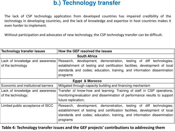 b.) Technology transfer