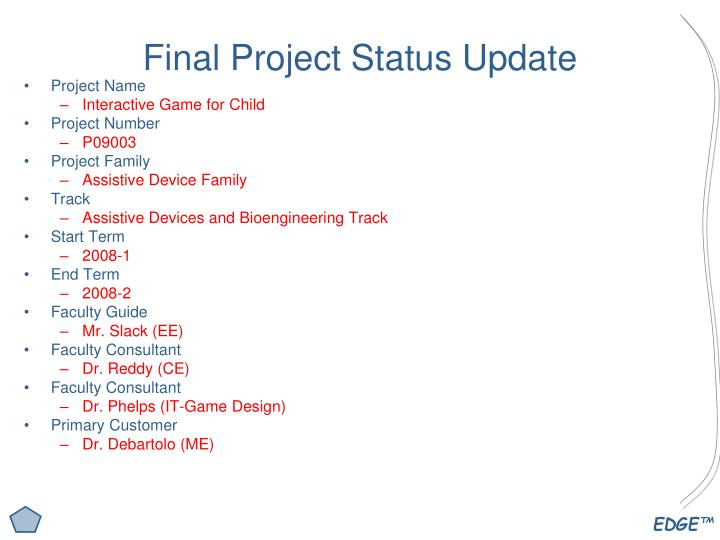 Final project status update