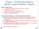 phase 1 concept development identify customer needs interpret