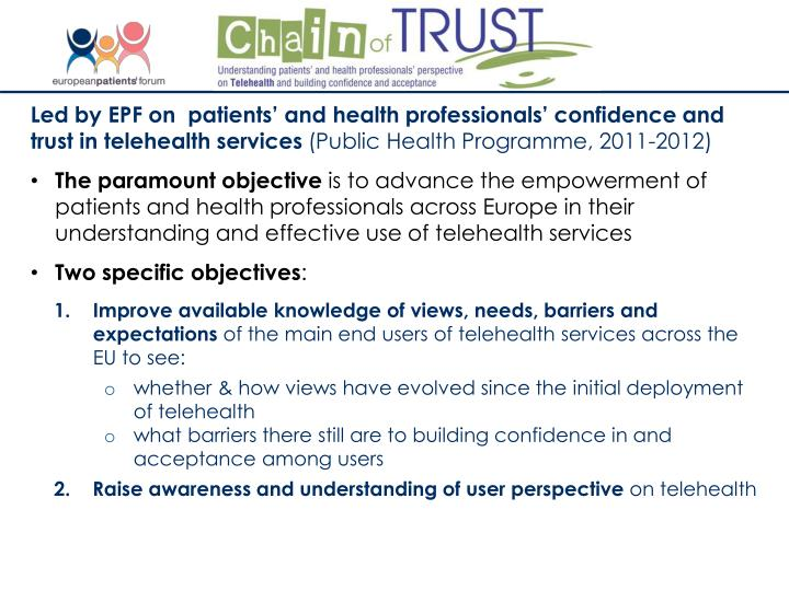 Led by EPF on  patients' and health professionals' confidence and trust in