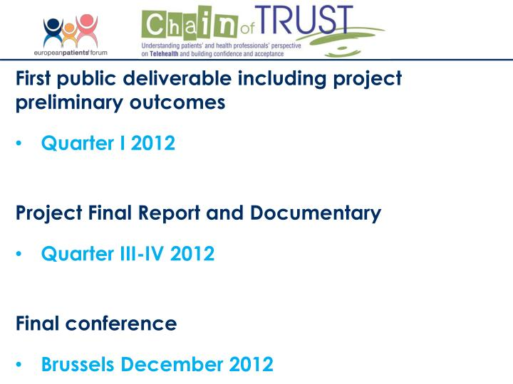 First public deliverable including project preliminary outcomes