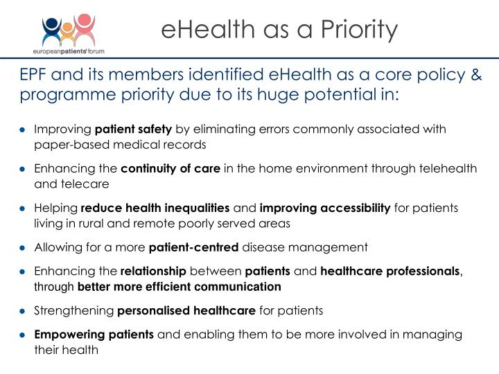 eHealth as a Priority