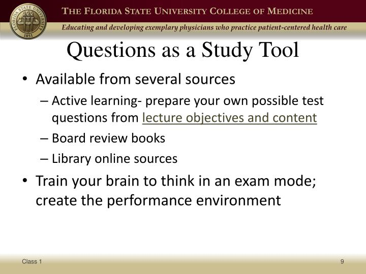 Questions as a Study Tool