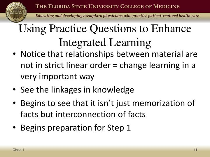 Using Practice Questions to Enhance Integrated Learning