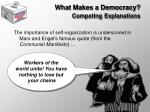 what makes a democracy competing explanations9