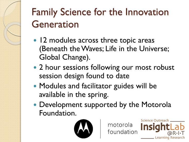 Family Science for the Innovation Generation