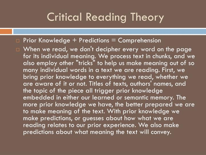 Critical Reading Theory