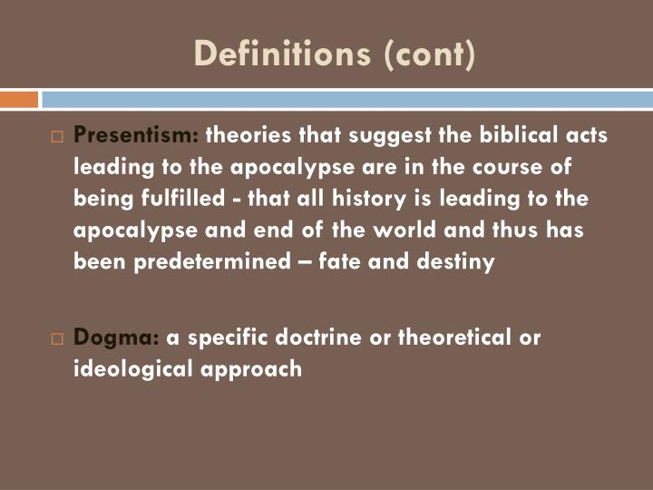 Definitions (cont)