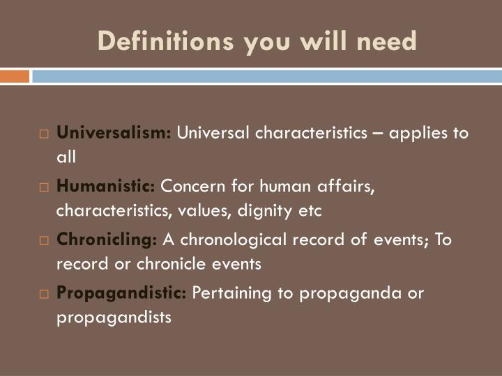 Definitions you will need