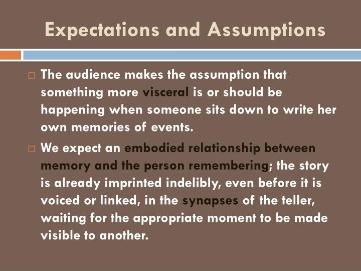 Expectations and Assumptions