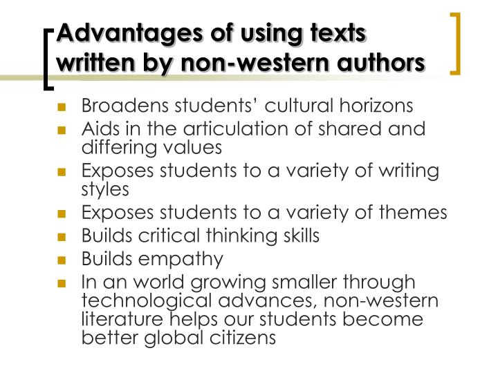Advantages of using texts written by non-western authors