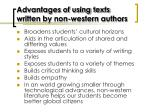 advantages of using texts written by non western authors
