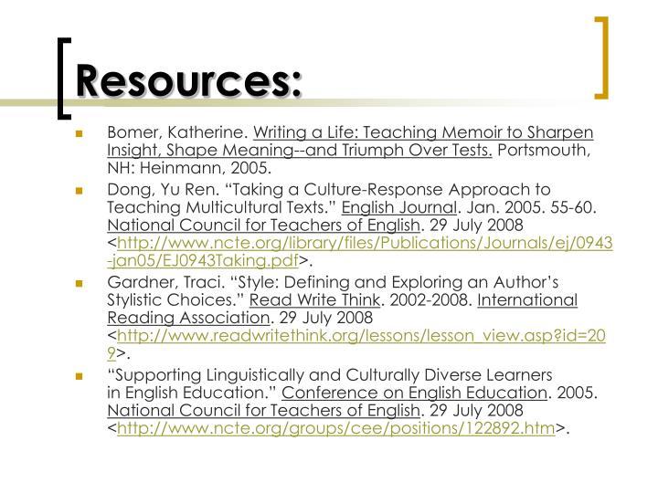 Resources: