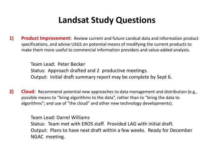 Landsat Study Questions