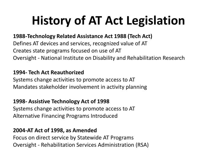 History of at act legislation