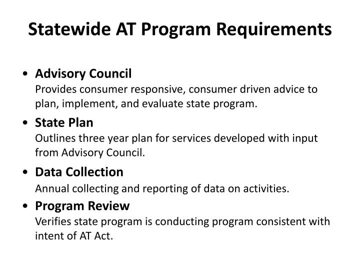 Statewide AT Program Requirements