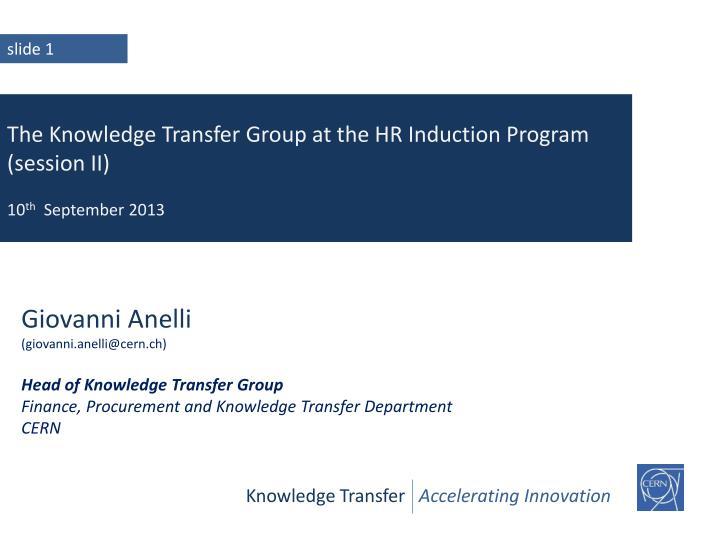 Knowledge Transfer