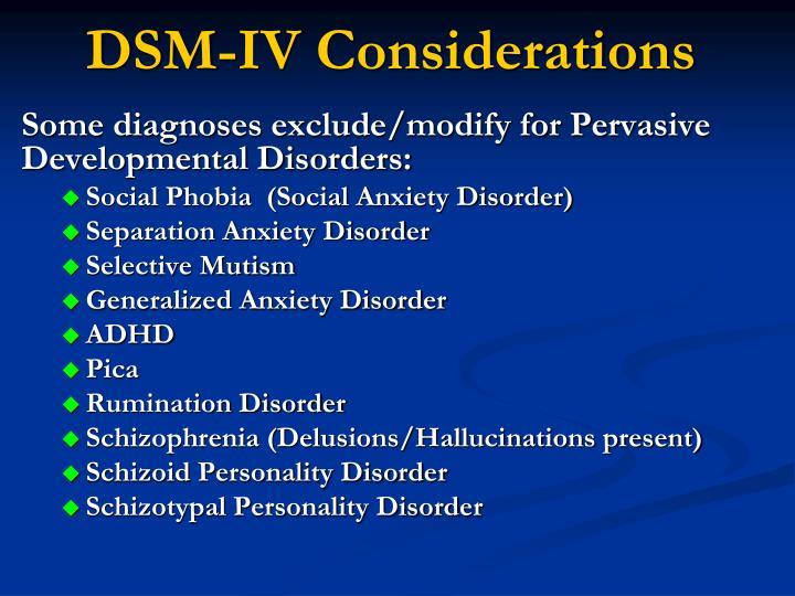 DSM-IV Considerations