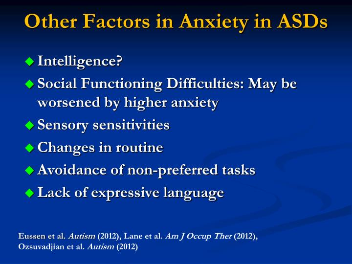 Other Factors in Anxiety in ASDs