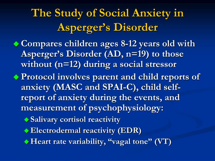 The Study of Social Anxiety in Asperger's Disorder
