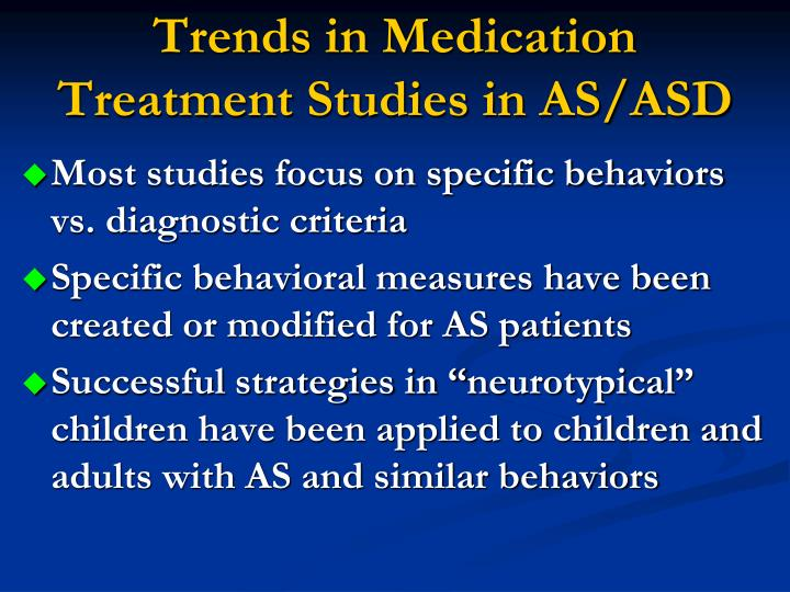 Trends in Medication Treatment Studies in AS/ASD
