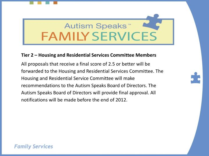 Tier 2 – Housing and Residential Services Committee Members