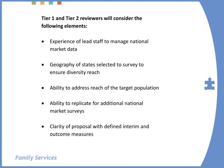 Tier 1 and Tier 2 reviewers will consider the following elements: