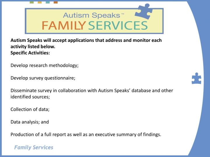 Autism Speaks will accept applications that address and monitor each activity listed below.