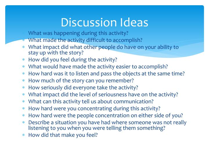 Discussion Ideas