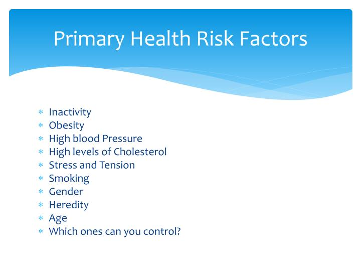 Primary Health Risk Factors