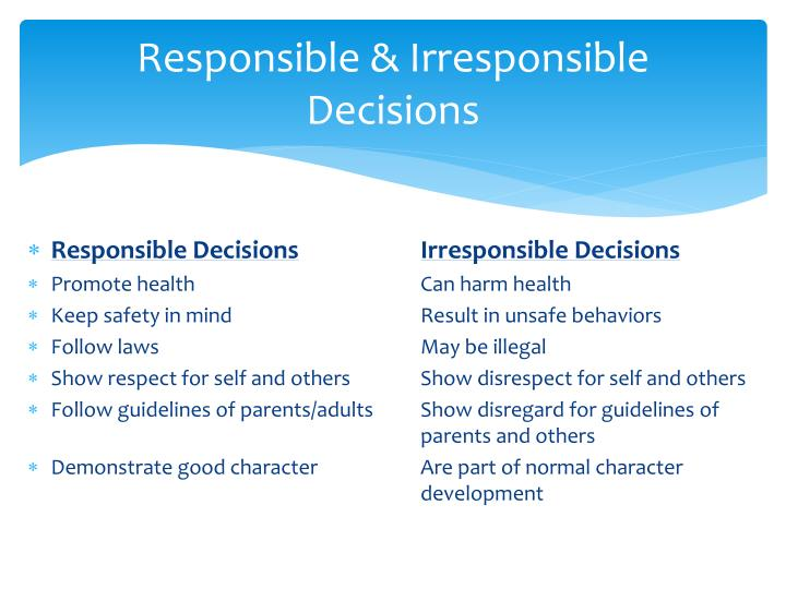 Responsible & Irresponsible Decisions