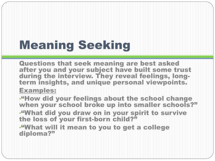 Meaning Seeking