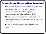 examples dissertation research