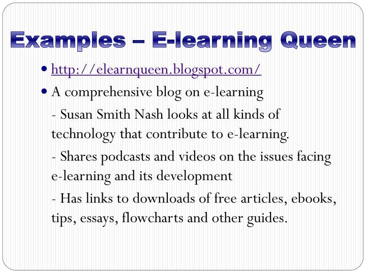 Examples – E-learning Queen