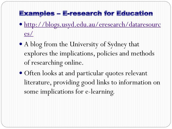 Examples – E-research for Education