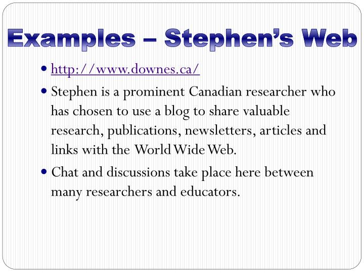 Examples – Stephen's Web