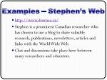 examples stephen s web