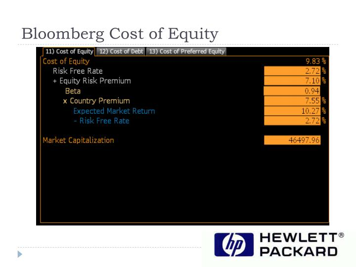 Bloomberg Cost of Equity