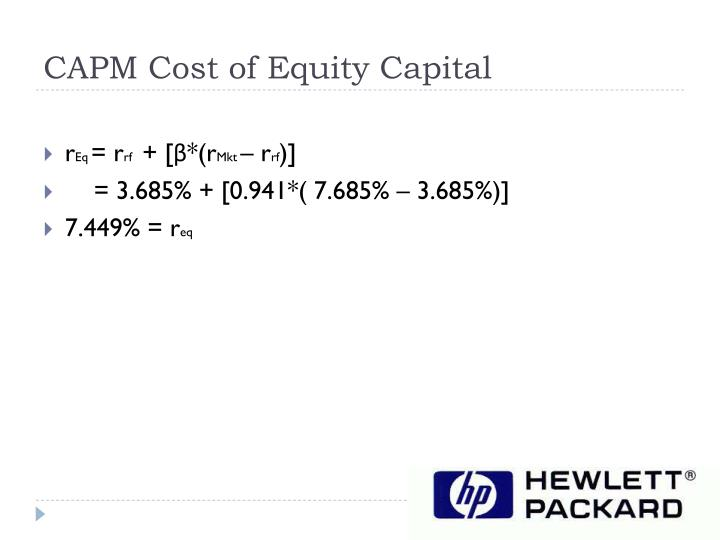 CAPM Cost of Equity Capital
