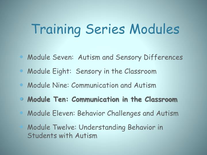 Training series modules1