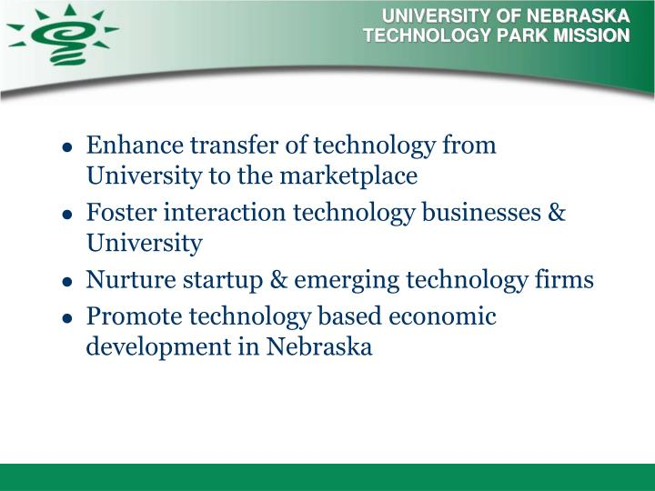 University of nebraska technology park mission