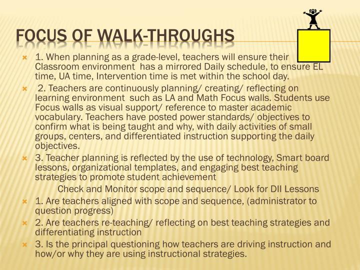 Focus of Walk-throughs